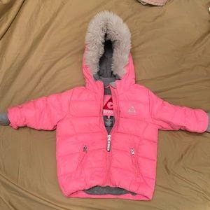 Hot pink down jacket!